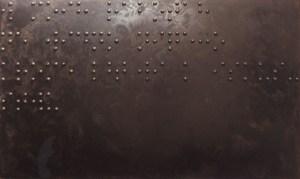 Живопись для слепых. Визуальная культура №2 (В моих работах не видно ничего, кроме любви к искусству)1989, оргалит, дерево, эмаль, 122х200 см. Художественный музей Циммерли, Университет Ратгерс, Нью Брунсвик, США