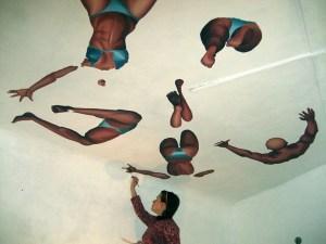 Оля Божко. Фреска. Живопись на потолке акриловыми краскам.  27 октября 2007 года