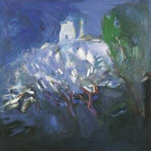 Цветущие яблони в Коломенском. 1993. Холст, масло,.100х100