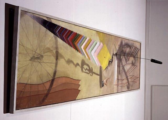 Марсель Дюшан. Ты меня. 1918, масло и карандаш, холст с ершом, три булавки и гайка, 69,8 x 313 см, наследие Катерины С. Дрейер, 1959. Художественная галерея Йельского Университета