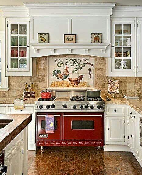 Cucina country bianca e rossa arredamento shabby - Cucina bianca e rossa ...