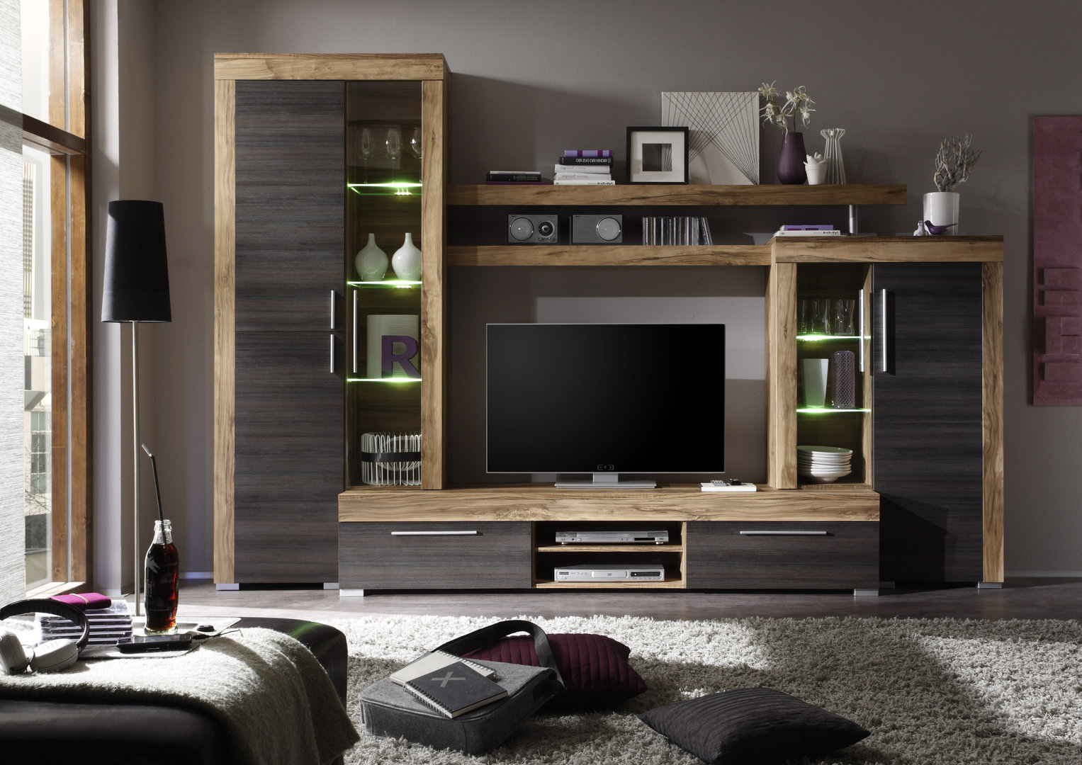 Meuble Complet Salon Soggiorno Moderno Friend, Parete Porta Tv Di Design Con Led
