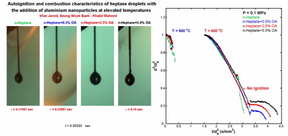 Autoignition and combustion characteristics of heptane droplets with