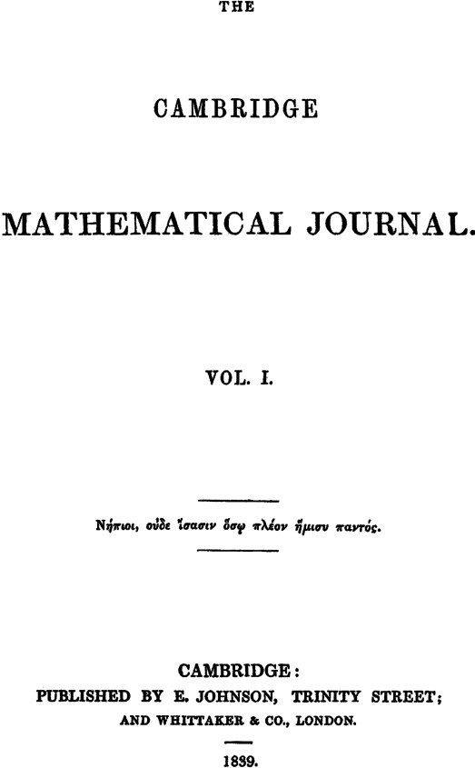 The Cambridge Mathematical Journal and its descendants the linchpin - running title scientific paper