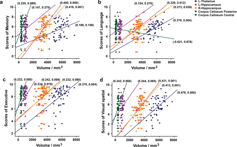 The associated volumes of sub-cortical structures and cognitive