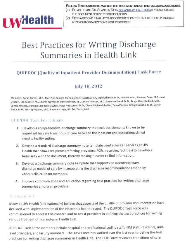 Design and Hospitalwide Implementation of a Standardized Discharge - discharge summary template