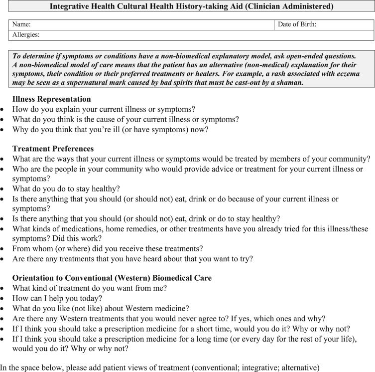 Conducting an Integrative Health Interview - ScienceDirect - complete health history example