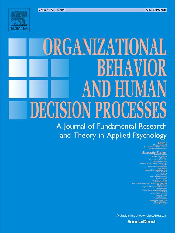 Organizational Behavior and Human Decision Processes ScienceDirect