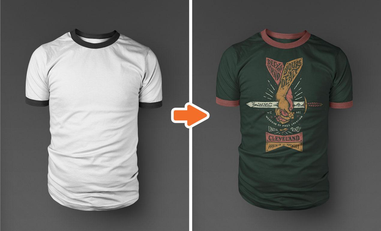 Black t shirt template psd -  Photoshop Ringer T Shirt Mockup Templates Pack Ringer2 Download
