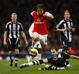 Flamini scampers away to set up the first goal