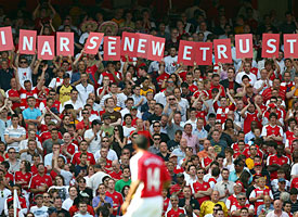Arsenal fans show their support for Arsene Wenger