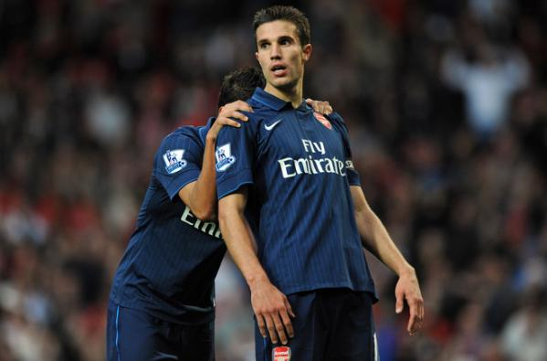 Van Persie and Eduardo react to the chalking off of Arsenal's late equaliser