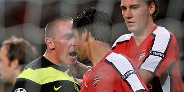 Eduardo is confronted by Scott Brown after his dive