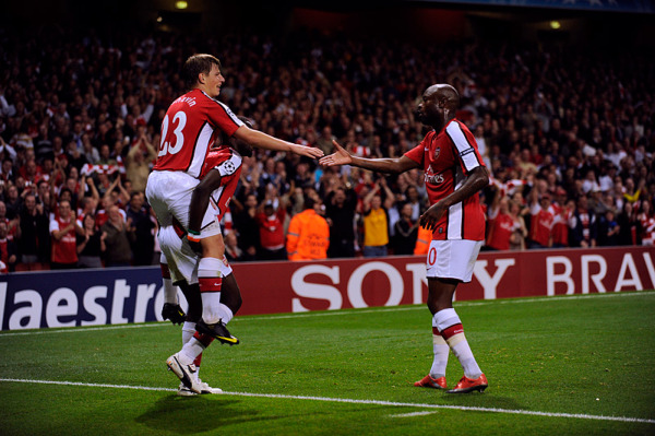 Gallas, Eboue and Arshavin celebrate the second goal