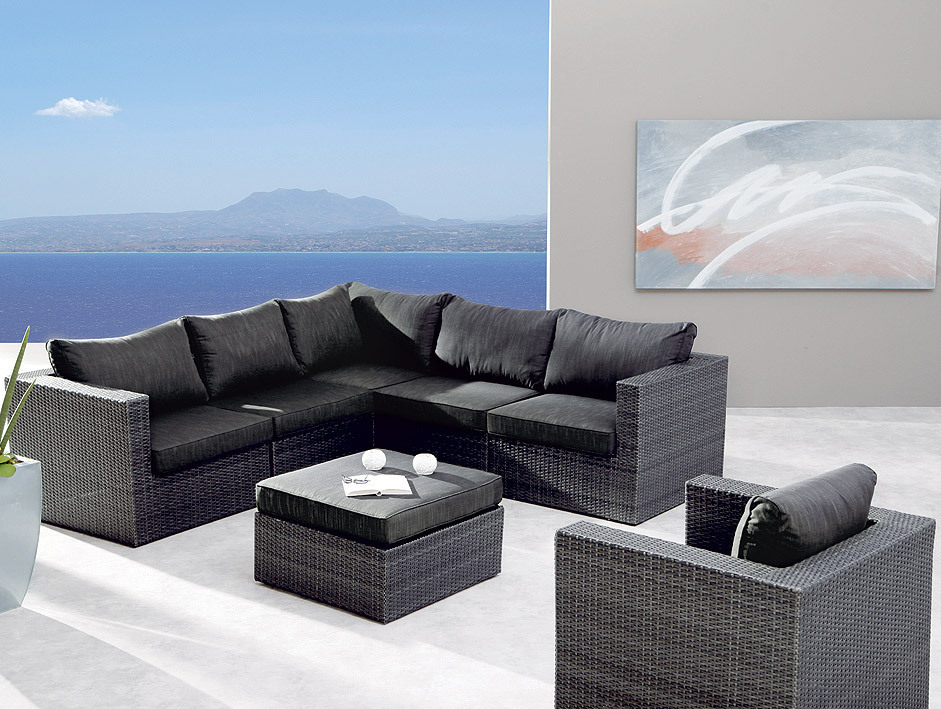 Polyrattan Set Best 7-tlg Lounge Set Aruba Alu + Polyrattan 98897053- Art