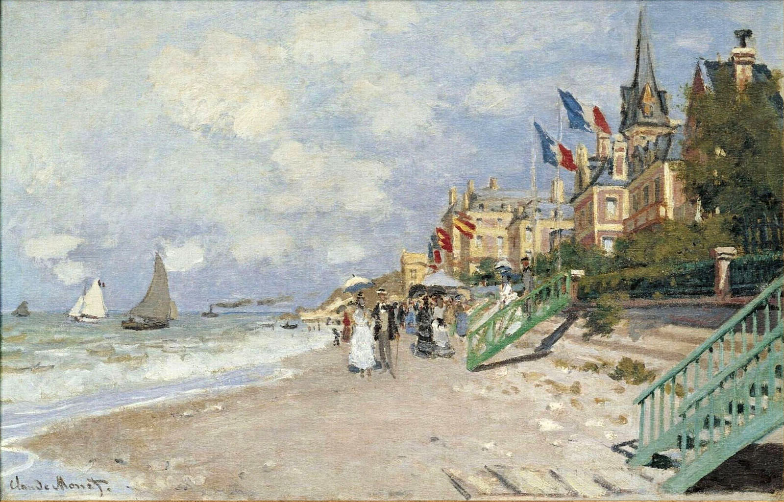 Claude Monet Cuadros Claude Monet The Boardwalk On The Beach At Trouville 1870 In