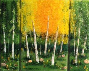Birches Tryptich, glass art by Jessy Carrara