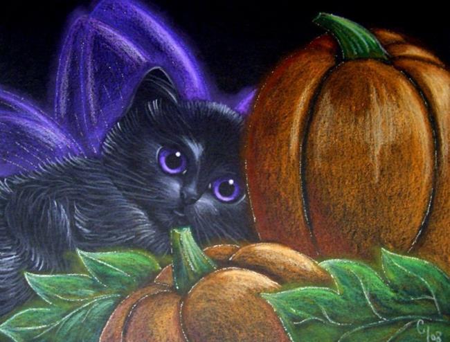 Fall Desktop Wallpaper With Pumpkins Black Fairy Kitten Cat Halloween Pumpkins By Cyra R