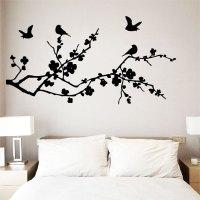 Birds Fly on Cherry Blossom Vinyl Wall Art Decal