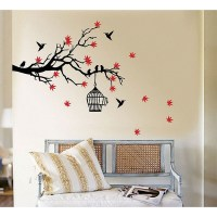 Silver Birdcage Wall Decals - tree branch blossoms with ...
