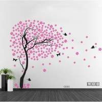 Cherry Blossom Tree with Butterfly Vinyl Wall Art Decal
