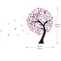 Blossom Large Tree with Hearts Vinyl Wall Art Decal