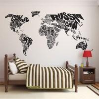 Typography World Map Vinyl Wall Art Decal