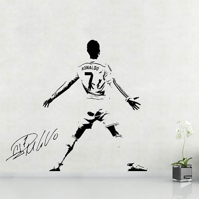 Wandtattoo Basketball Cristiano Ronaldo Soccer Football Player Vinyl Wall Art Decal