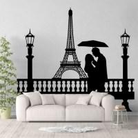 Eiffel Tower Couple Under Umbrella Vinyl Wall Art Decal