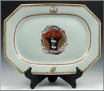 A Fine Rare 18th Century Chinese Export Armorial Platter bearing the Coat-of-Arms of the Fitter Family