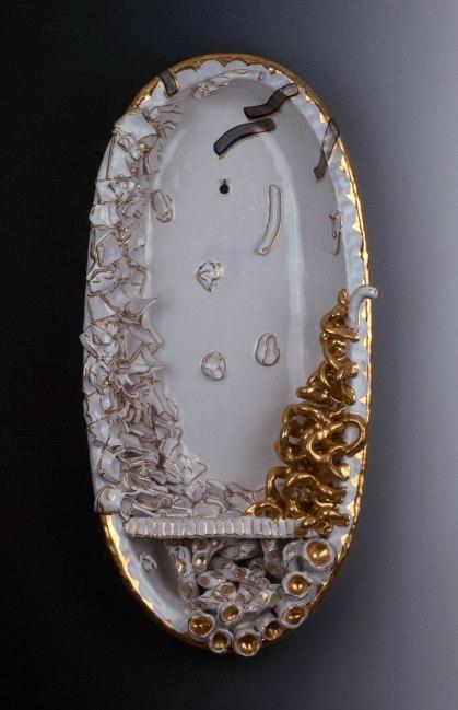 "2013, Terracotta clay, maiolica, gold luster, 26""H x 9.5""W x 4.5""D"