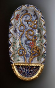 """2013, Terracotta clay, maiolica, gold luster, china paint, 26""""H x 9.5""""W x 4.5""""D"""