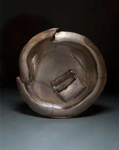 "Wood-fired stoneware, reduce cooled, 25""x25""x6"""