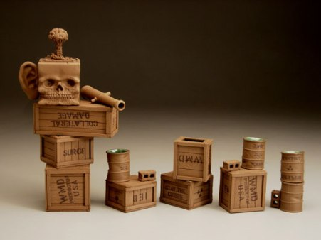 "stoneware, glaze, 2007, teapot: 11 1/2"" x 7"" x 4 1/4"", cups: vary, 3 5/8"" to 4 1/2"