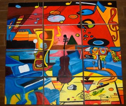 картина маслом написана 11 начинающими художниками на корпоративном мастер-классе