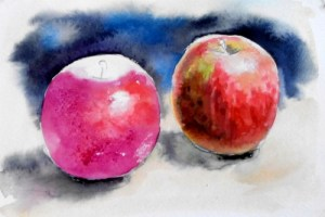 акварельный этюд с яблоками прорисовываем левое яблоко