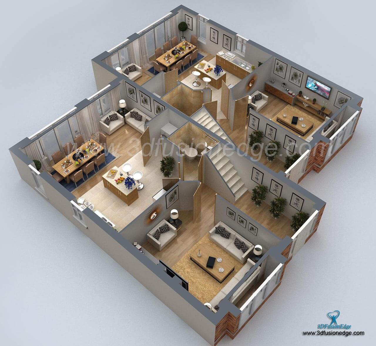 3d Home Small House 3d Floor Plan Rendering Artconnect