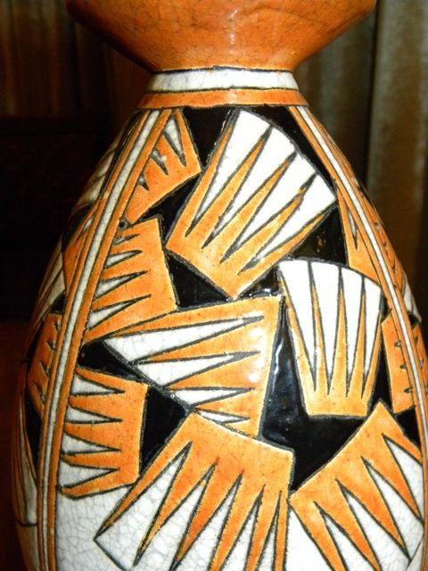 Boch Vase Orange Black And Cream Boch Art Deco Vase | Sold Items