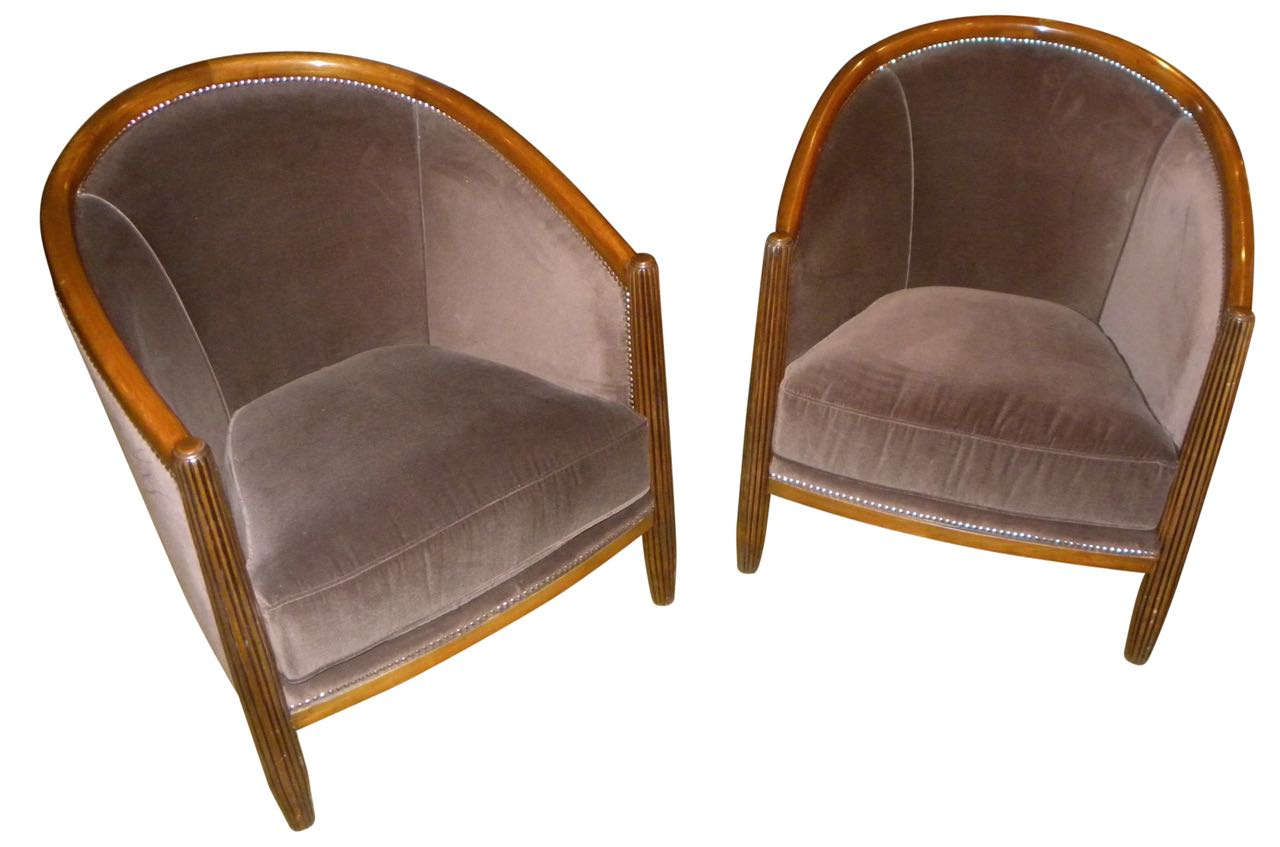 Art deco style club tub chairs french style