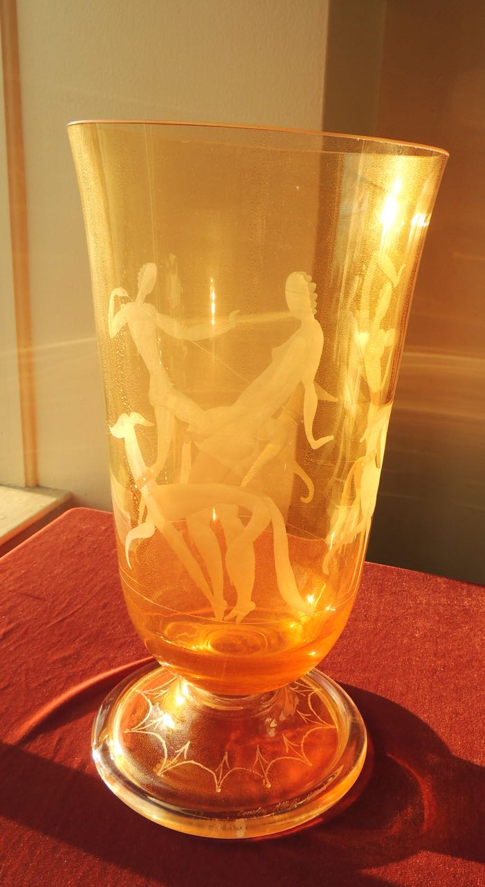 Boch Vase Art Deco Etched Glass Vase With Stylized Women And Dogs
