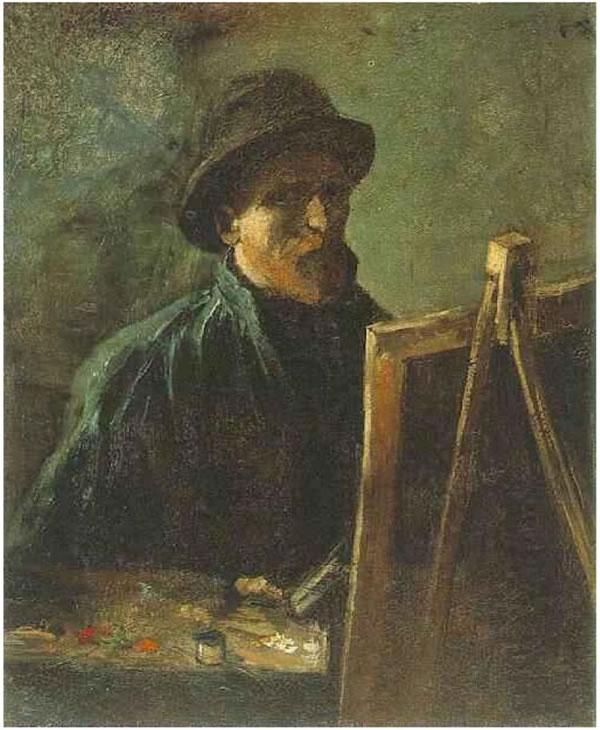 Autorretrato con el sombrero de fieltro en el caballete