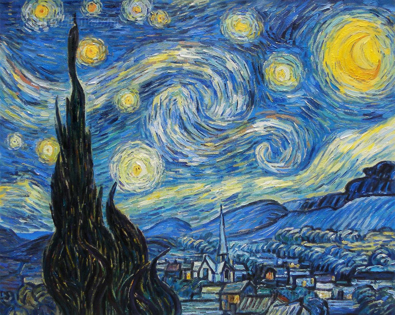 вышивка ван гог звёздная ночь