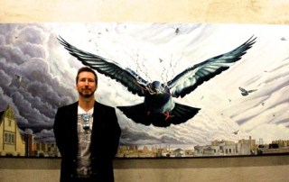 Steve Ellis in the frame with one of his birds