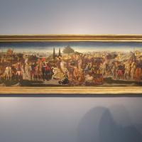 "Domenico DI ZANOBI (Maestro della Natività Johnson) ""Cassone with Scenes of a Battle"" circa 1445 - 1481 tempura on panel 18 x 63 inches €1,100,000 at Moretti Fine Art"