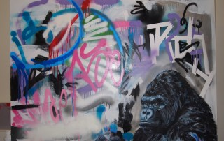 """""""With man focused on ____, is there any hope for gorilla?"""" –text from Ishmael by Daniel Quinn, mixed media on canvas 36x42 inches"""