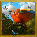 Cristine Vergano; Parrot, 2012; Oil on hardboard with trompe l'oeil frame; 24 x 24 inches; 61 x 61 cm