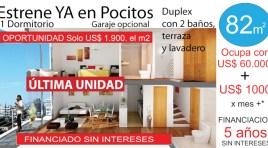1 Dormitorio + 2 Baños + Terraza + Lavadero, última unidad, FINANCIADO SIN INTERESES