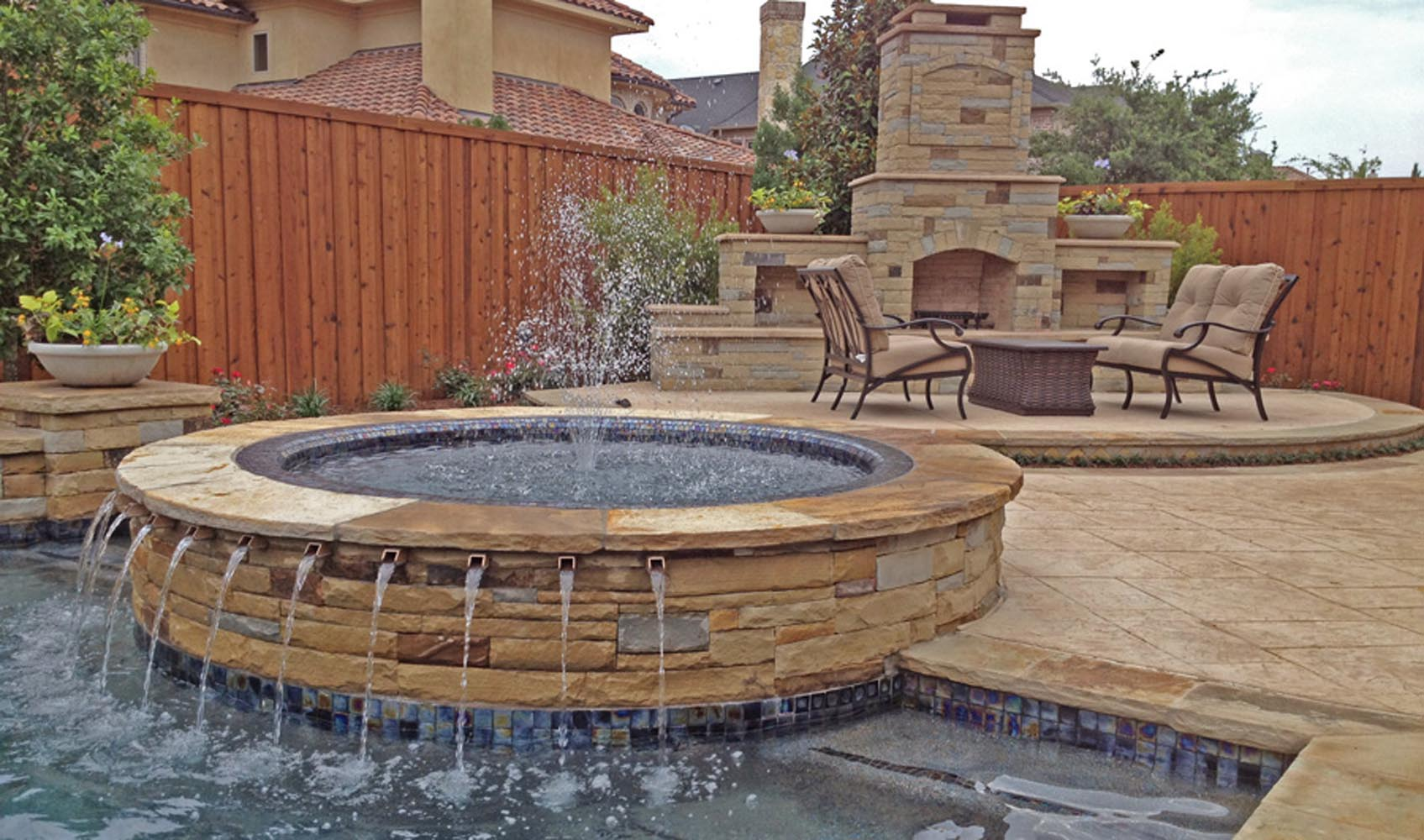 Jacuzzi Pool Bilder Dallas Plano Pool Fountains Custom Water Features Gallery