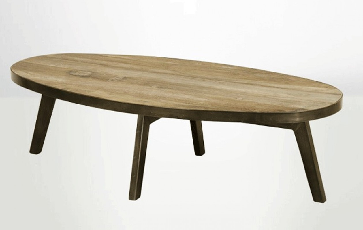 Couchtisch Holz Oval Plateau Table Bois Ovale Wraste