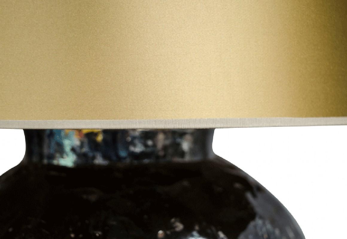 Lampe De Salon Artisanale En Céramique émaillé Style 70s